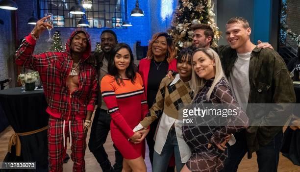 Guest star Kosine Lance Gross Brittany O'Grady Queen Latifah Ryan Destiny William Levy Jude Demorest and Matthew Noszka behind the scenes in the Zion...