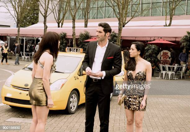 Guest star Lindsay Gort Tom Ellis and Aimee Garcia in the Vegas With Some Radish episode of LUCIFER airing Monday Nov 6 on FOX