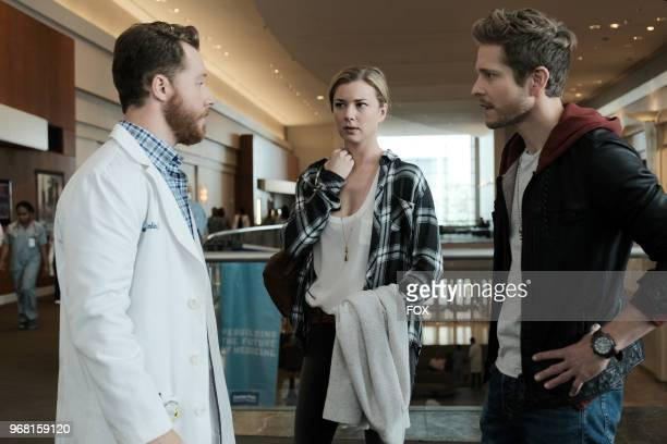 Guest star Matt Shively Emily VanCamp and Matt Czurchry in the 'And the Nurses Get Screwed' episode of THE RESIDENT airing Monday April 23 on FOX