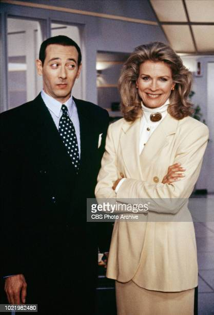 """Guest star Paul Reubens and Candice Bergen star on """"Murphy Brown"""" the CBS television situation comedy program featuring topical current events and..."""