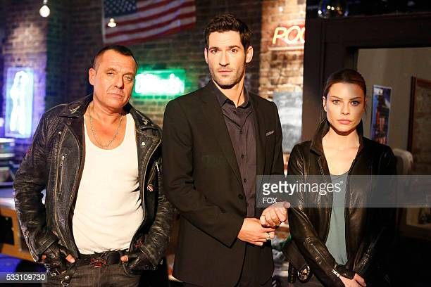 Guest star Thomas Sizemore Tom Ellis and Lauren German in the Favorite Son episode of LUCIFER airing Monday Feb 29 on FOX