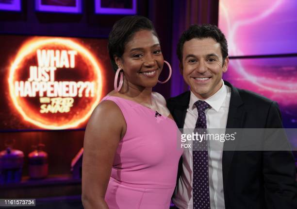 Guest star Tiffany Haddish and host Fred Savage behind the scenes in the Parents episode of WHAT JUST HAPPENED WITH FRED SAVAGE airing Sunday July 28...