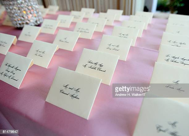 RATES Guest table cards during the wedding of Ivana Trump and Rossano Rubicondi at the MaraLago Club on April 12 2008 in Palm Beach Florida
