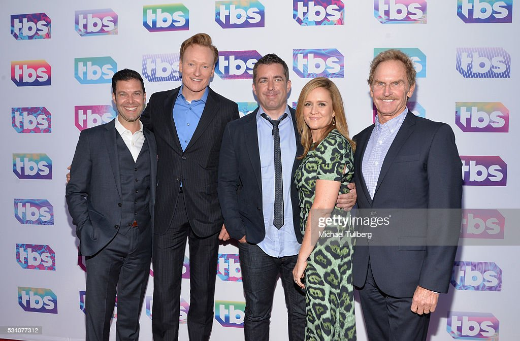 Guest, talk show host Conan O'Brien, actor Jason Jones, TV host/comedian Samantha Bee and actor Jere Burns attend TBS's A Night Out With - For Your Consideration event at The Theatre at Ace Hotel on May 24, 2016 in Los Angeles, California.