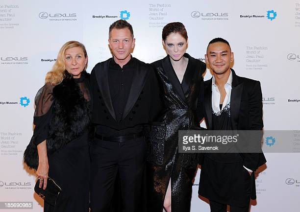 Guest ThierryMaxime Loriot Coco Rocha and Thoai Niradeth attend the VIP reception and viewing for The Fashion World of Jean Paul Gaultier From the...