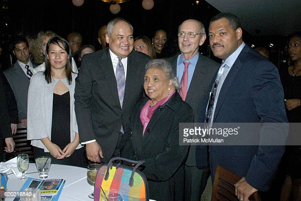 Guest Thurgood Marshall Jr Cecilia Suyat George Stevens Jr and Laurence Fishburne attend PostShow Celebration for THURGOOD at Bryant Park Grill on...