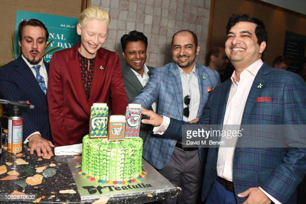Guest Tilda Swinton Ahsan Akbar K Anis Ahmed and Kazi Inam Ahmed attend the launch of Teatulia Tea Bar in Covent Garden on September 13 2018 in...