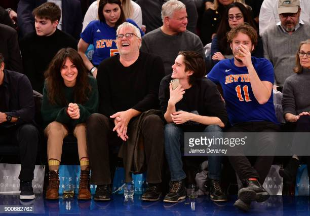 Guest Tim Robbins Miles Robbins and Jack Robbins attend the New York Knicks Vs San Antonio Spurs game at Madison Square Garden on January 2 2018 in...