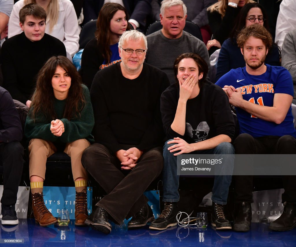 Guest, Tim Robbins, Miles Robbins and Jack Robbins attend the New York Knicks Vs San Antonio Spurs game at Madison Square Garden on January 2, 2018 in New York City.