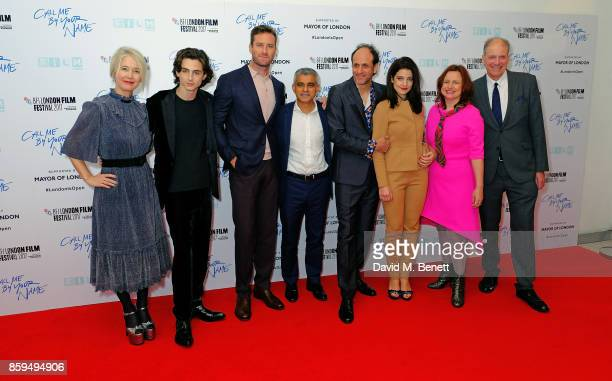 Guest Timothee Chalamet Armie Hammer Sadiq Khan Luca Guadagnino Esther Garrel Clare Stewart and guest attend the Mayor Of London Gala UK Premiere of...