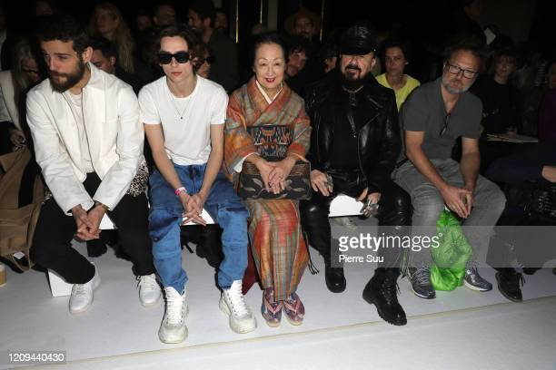 A guest Timothee Chalamet Setsuko Klossowska and Peter Marino attend the Haider Ackermann show as part of the Paris Fashion Week Womenswear...