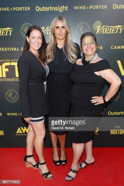 guest Tiziana Rocca and Carol Bidault de l'Isle attend as WIFT International with Variety Alliance of Women Directors host a cocktail party during...