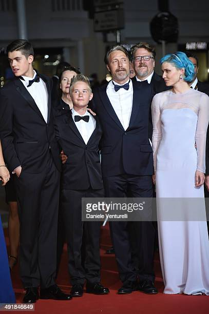 Guest Toke Lars Bjarke Mads Mikkelsen and Nanna Oland Fabricius attend the The Salvation Premiere at the 67th Annual Cannes Film Festival on May 17...