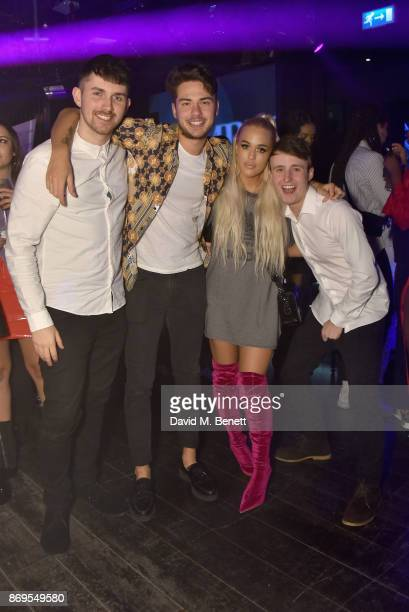 Guest Tommy Napolitano Lottie Tomlinson and guest arrive at Lottie Tomlinson's 'Rainbow Roots' book launch at Tape London on November 2 2017 in...