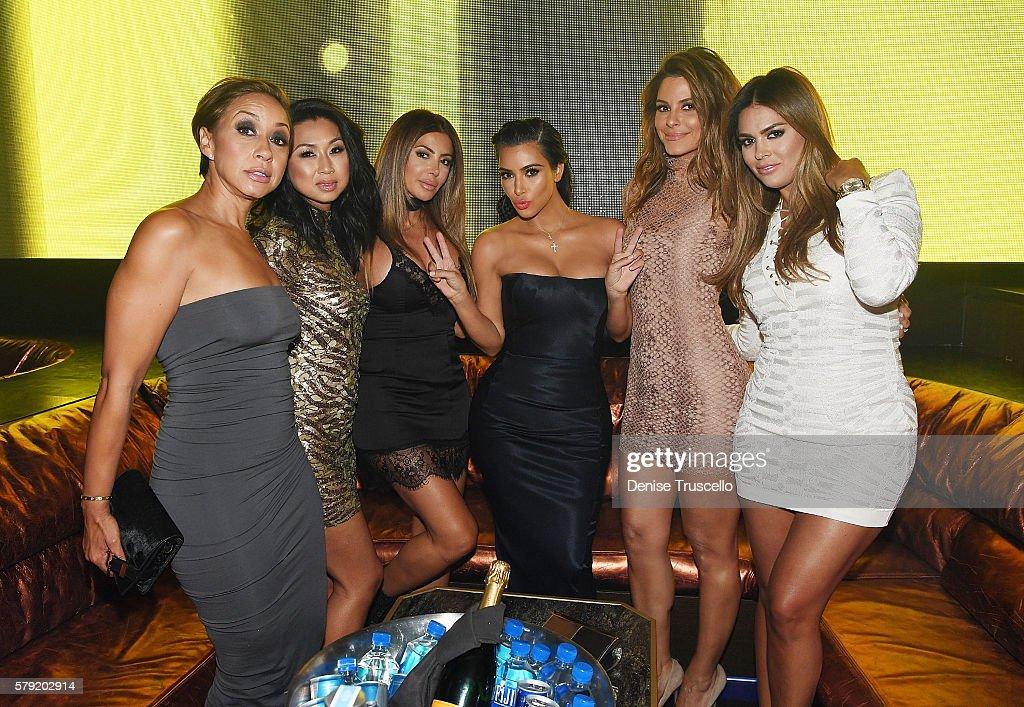 Guest, Tracy Romulus, Larsa Pippen, Kim Kardashian West, Maria Menounos and Carla DiBello attend Hakkasan Las Vegas Nightclub inside MGM Grand on July 22, 2016 in Las Vegas, Nevada.