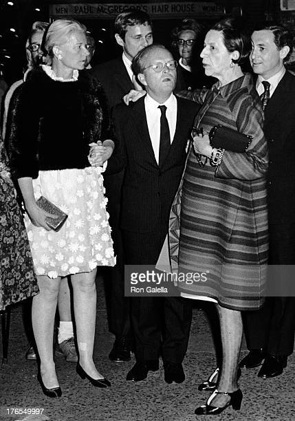CZ Guest Truman Capote and Diana Vreeland attend the premiere of 'Trilogy' on May 6 1968 at Arts Theater in New York City