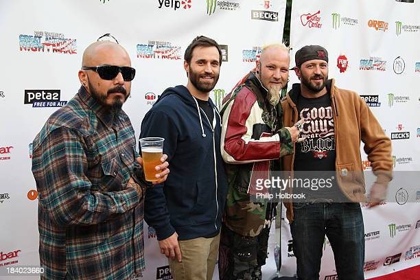 A guest TV Personality Justin Blecha Art Designer Elvis Strange and TV Personality Jake Blecha arrive at the VIP opening night party at Rob Zombie's...