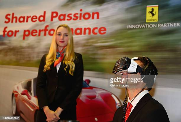 A guest uses a virtual reality head set at the Shell Eco Marathon event during the Formula One Grand Prix of Mexico at Autodromo Hermanos Rodriguez...