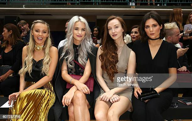 Guest Victoria Magrath Olivia Grant and Lilah Parsons attend the Julien Macdonald show during London Fashion Week Spring/Summer collections 2017 at...