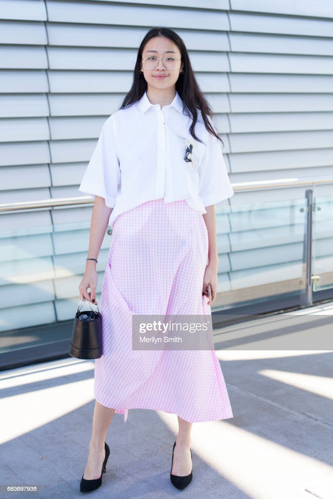 Guest Victoria Ngo wearing a Matt Lee top and skirt during