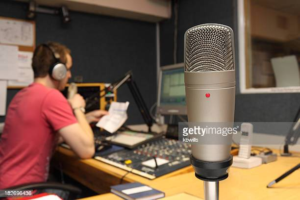Guest view of Microphone in radio station