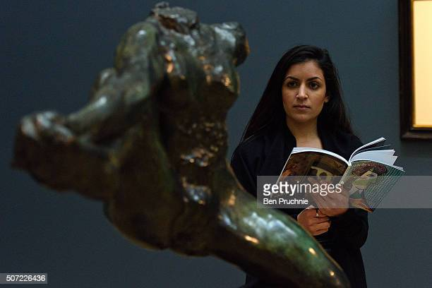 A guest views Iris Messagere Des Dieux by Auguste Rodin which is expected to fetch 6 to 8 millions GBP at Sotheby's on January 28 2016 in London...