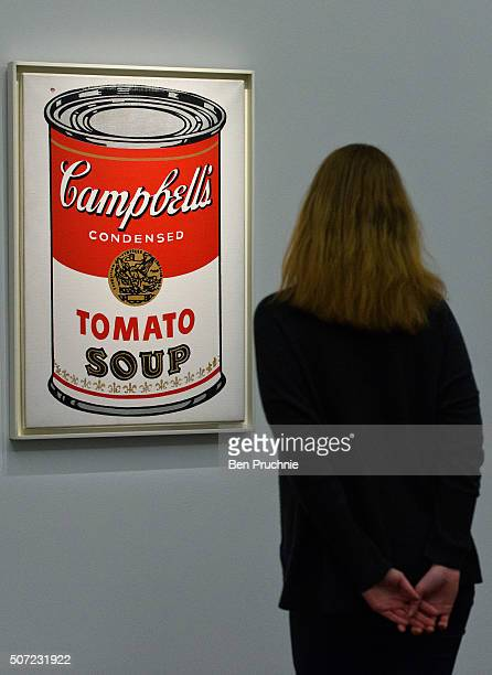A guest views Large Campbell's Soup Can by Andy Warhol which is expected to fetch 45 to 65 million GBP at Sotheby's on January 28 2016 in London...
