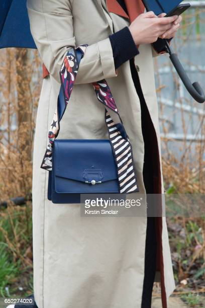 A guest waers a Paula Cademartori bag on day 2 during Paris Fashion Week Autumn/Winter 2017/18 on March 1 2017 in Paris France guest