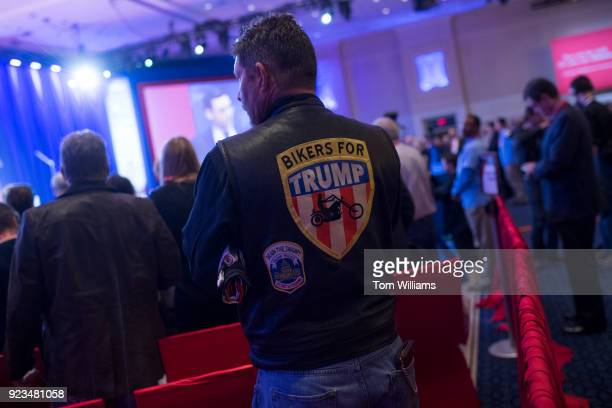 A guest waits for President Donald Trump to address the Conservative Political Action Conference at the Gaylord National Resort in Oxon Hill Md on...
