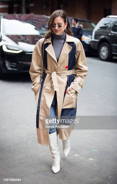 A guest walks outside of the Tibi show during New York Fashion Week on February 10 2019 in New York City