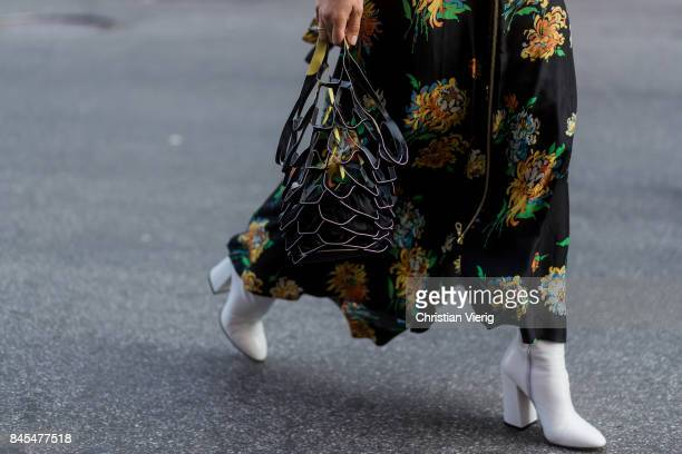 A guest wearing a bag seen in the streets of Manhattan outside Diane von Furstenberg during New York Fashion Week on September 10 2017 in New York...