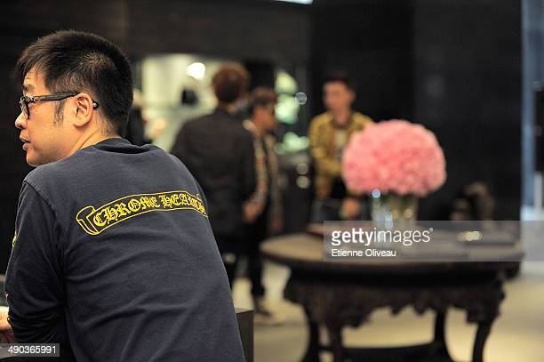 Guest wearing a Chrome Hearts branded polo at the Chrome Hearts Beijing Store Opening on May 14, 2014 in Beijing, China.