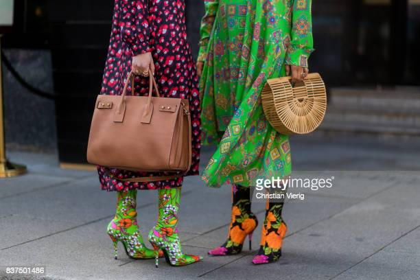 A guest wearing a Clut Gaia bag and Balenciaga sock boots outside byTiMo on August 22 2017 in Oslo Norway