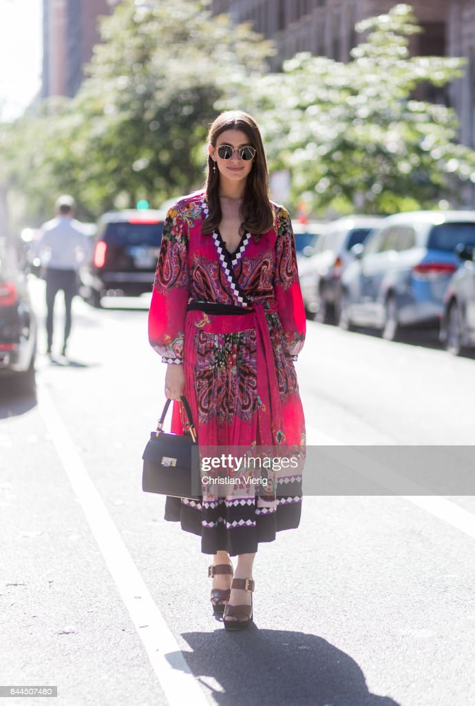 A guest wearing a dress seen in the streets of Manhattan outside Tory Burch during New York Fashion Week on September 8, 2017 in New York City.