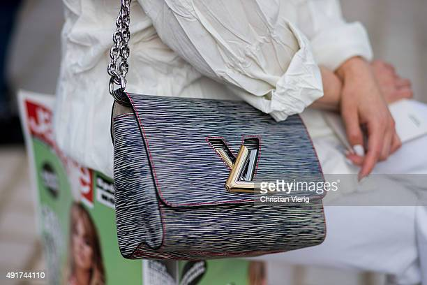 A guest wearing a Louis Vuitton bag at Louis Vuitton during the Paris Fashion Week Womenswear Spring/Summer 2016 on Oktober 7 2015 in Paris France