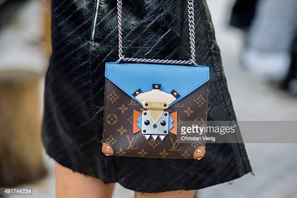 A guest wearing a Louis Vuitton bag at Louis Vuitton during the Paris Fashion Week Womenswear Spring/Summer 2016 on Oktober 7 2015 in Paris France