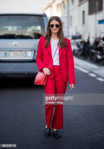 A guest wearing a red suit is seen outside Missoni during Milan Fashion Week Spring/Summer 2018 on September 23 2017 in Milan Italy