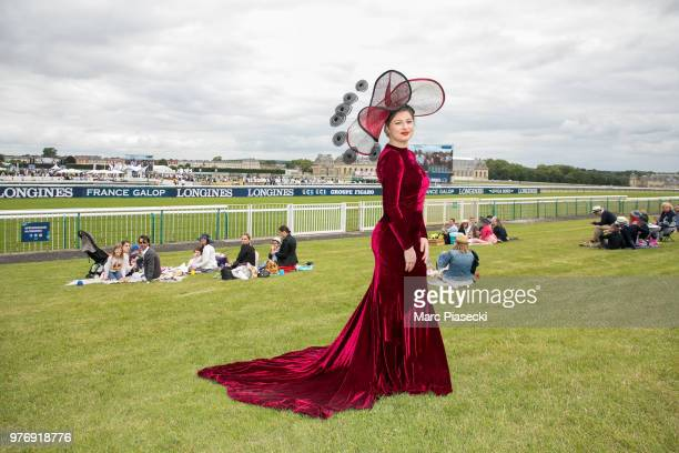 A guest wearing a special hat attends the Prix de Diane Longines 2018 at Hippodrome de Chantilly on June 17 2018 in Chantilly France