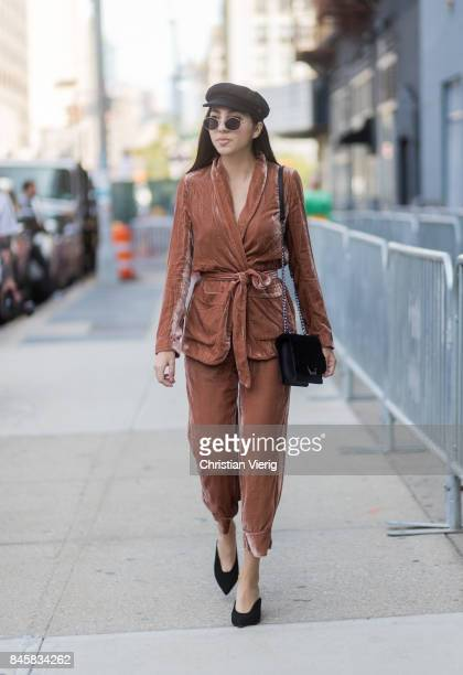 A guest wearing a velvet suit flat cap seen in the streets of Manhattan outside Zimmermann during New York Fashion Week on September 11 2017 in New...