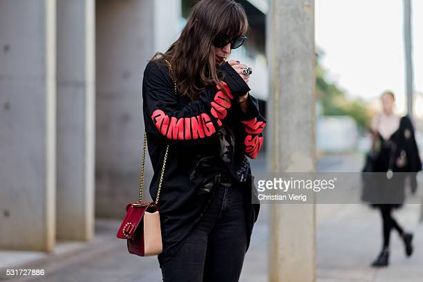 A guest wearing a Vetements shirt outside Misha Collection at MercedesBenz Fashion Week Resort 17 Collections at Carriageworks on May 16 2016 in...