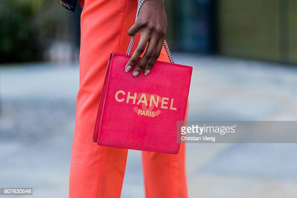 Guest wearing a vintage Chanel bag outside Paul Smith during London Fashion Week Spring/Summer collections 2017 on September 18, 2016 in London,...