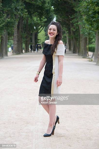 Guest wearing Ambalema Design dress on day 1 of Paris Haute Couture Fashion Week Autumn/Winter 2016 on July 3 2016 in Paris France