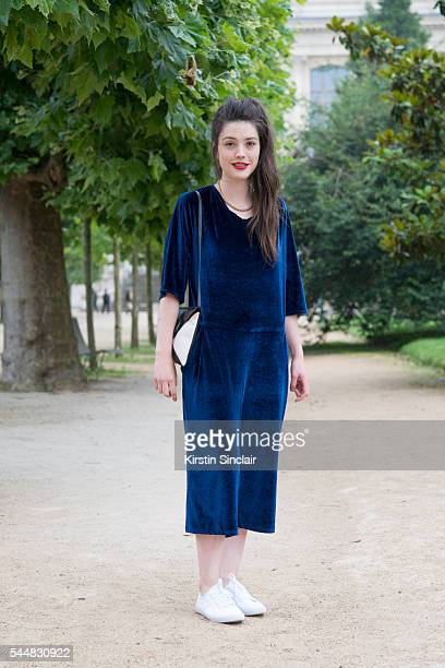 Guest wearing an Ambalema Design jumpsuit on day 1 of Paris Haute Couture Fashion Week Autumn/Winter 2016 on July 3 2016 in Paris France