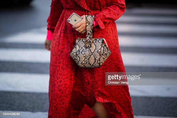 A guest wearing bag with snake print is seen outside Stella McCartney during Paris Fashion Week Womenswear Spring/Summer 2019 on October 1 2018 in...