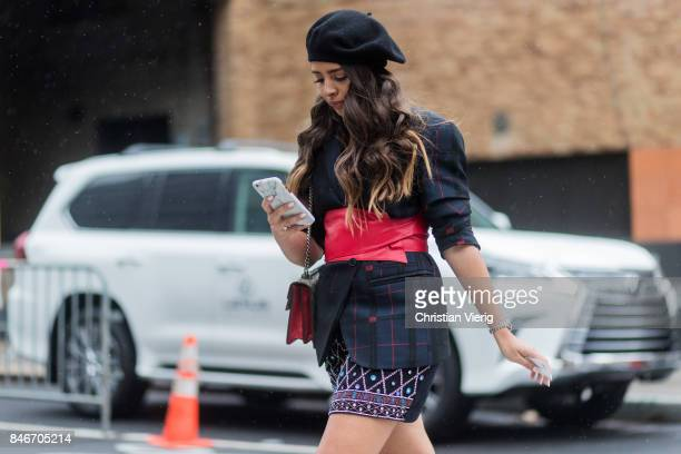 A guest wearing beret in front of Lexus seen in the streets of Manhattan outside Marchesa during New York Fashion Week on September 13 2017 in New...