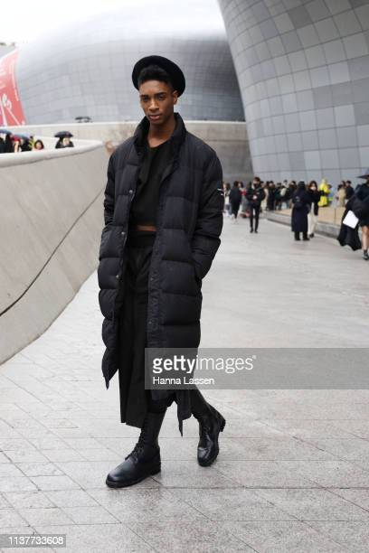 Guest wearing black beret and black puffer coat is seen at the Hera Seoul Fashion Week 2019 F/W at Dongdaemun Design Plaza at Dongdaemun Design Plaza...
