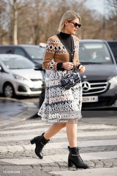 Guest wearing Chanel bag outside the Chanel show during Paris Fashion Week Womenswear Fall/Winter 2020/2021 Day Nine on March 03, 2020 in Paris,...