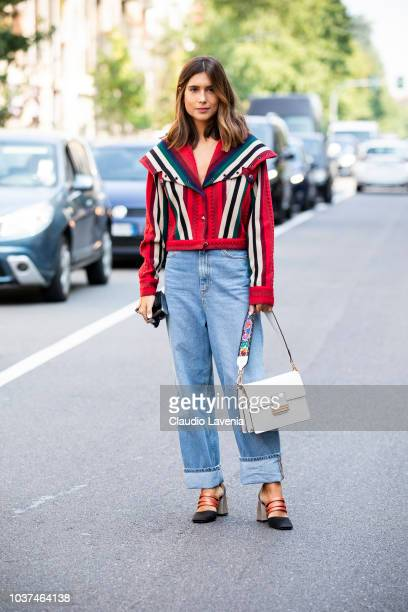 A guest wearing colored jacket and denim pants is seen before the Etro show during Milan Fashion Week Spring/Summer 2019 on September 21 2018 in...