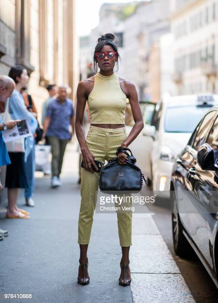 A guest wearing cropped pants is seen outside Les Hommes during Milan Men's Fashion Week Spring/Summer 2019 on June 16 2018 in Milan Italy