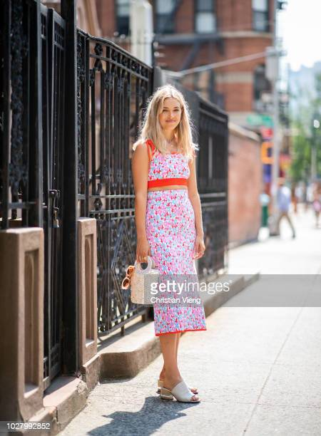 A guest wearing cropped top and skirt bag sandals is seen outside Collina Strada during New York Fashion Week Spring/Summer 2019 on September 6 2018...
